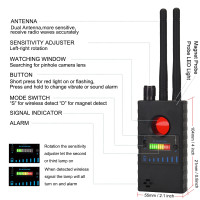 Spy Pinhole Camera Lens Finder, RF Radio Signal Scanner to Find Out Spy WiFi Camera, GSM Audio Bug and Cellphone Spy Listening Device and GPS Tracker