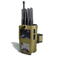 Handheld Cell Phone Jammer with leather Case 8 Bands CellPhone 4G LTE Wimax WIFI GPS Signal Jammer